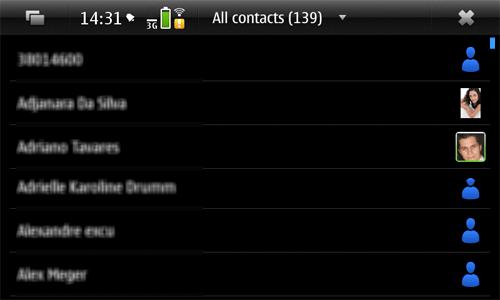 Lista de contatos no N900