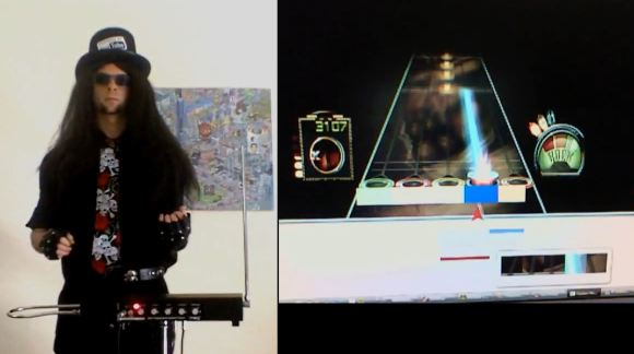 Air guitar hero com theremin